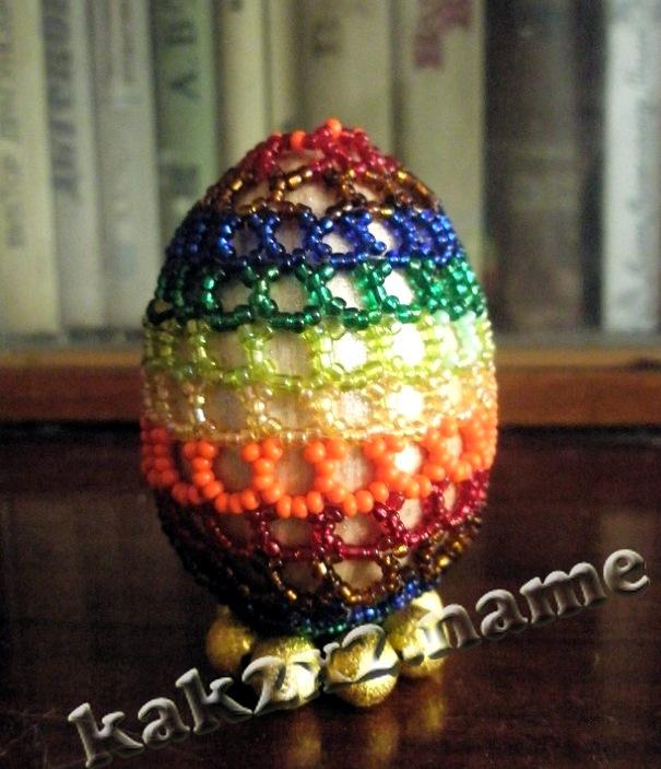 Оплетаем пасхальное яйцо бисером