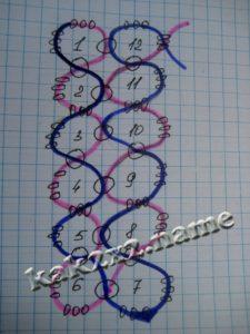 Серьги-кубики из бисера, схема 2