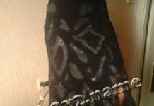 Длинная юбка, связанная крючком, с элементами кожи