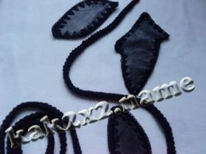 Длинная юбка, связанная крючком, с элементами кожи, детали юбки